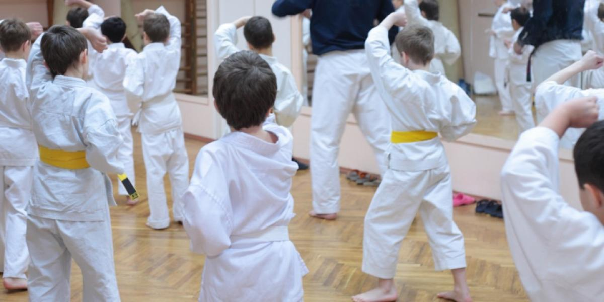 group of children doing martial arts